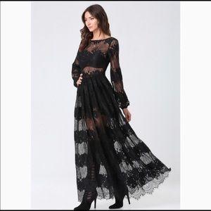 Bebe black boatneck lace sheer dress
